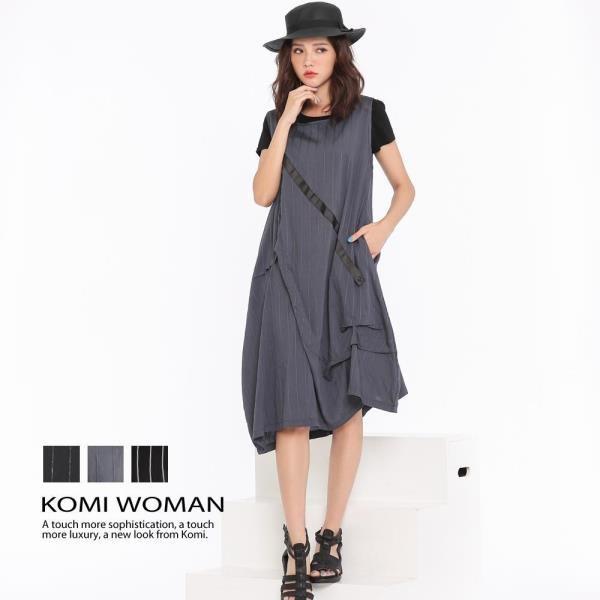 KOMI-都會風直紋人絲棉花苞口袋洋裝‧三色
