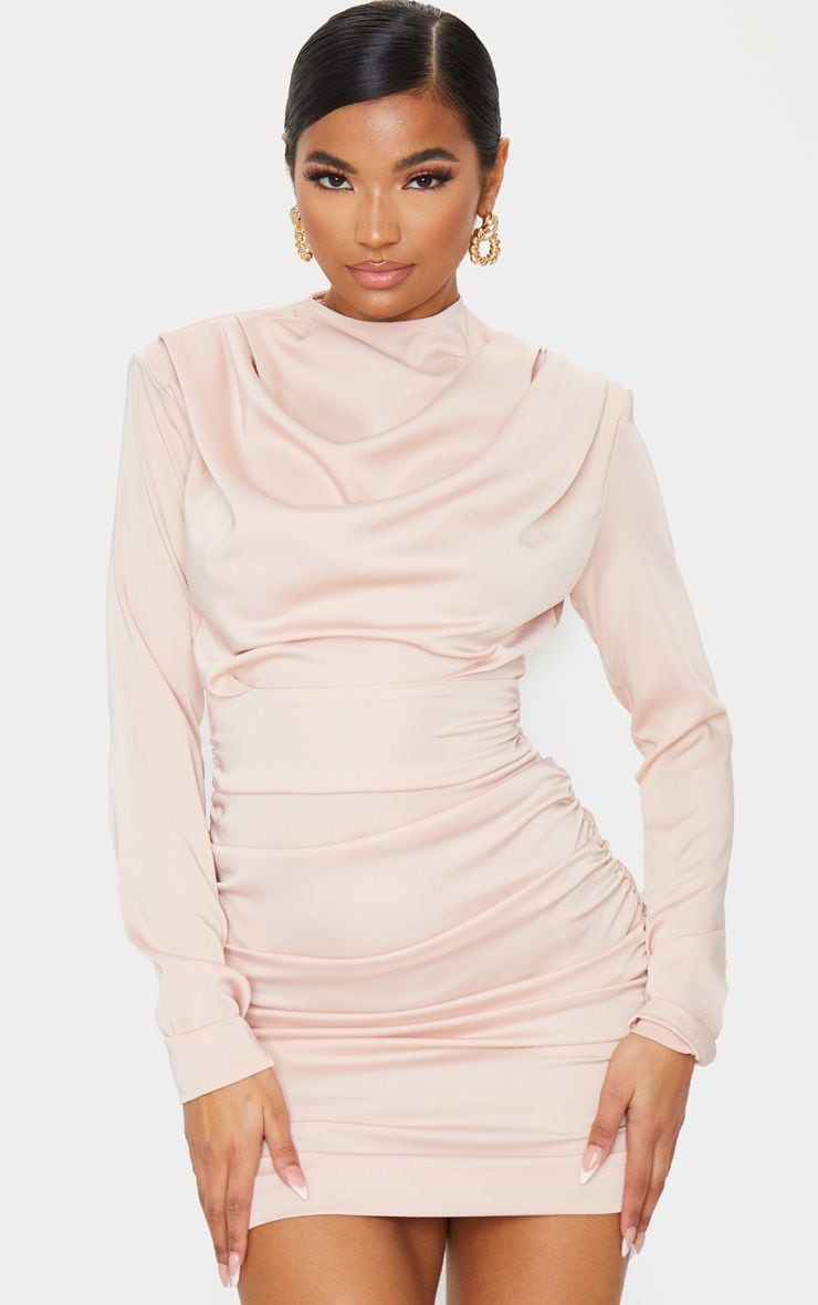 Nude Ruched Detail Long Sleeve Bodycon Dress