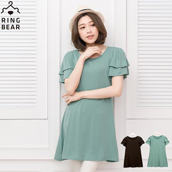 長版上衣--氣質雙層荷花袖圓領下擺修身長版上衣(黑.綠L-3L)-D141眼圈熊中大尺碼