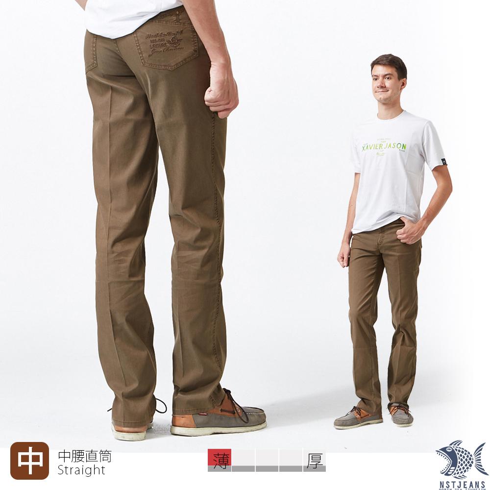 【NST Jeans】溫柔冷咖啡色 MUJI風 吸濕排汗休閒長褲(中腰) 390(5670) 夏季薄款