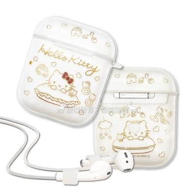 正版授權 Hello Kitty凱蒂貓 AirPods 1/2代通用 TPU透明彩繪耳機盒保護套(玩伴)