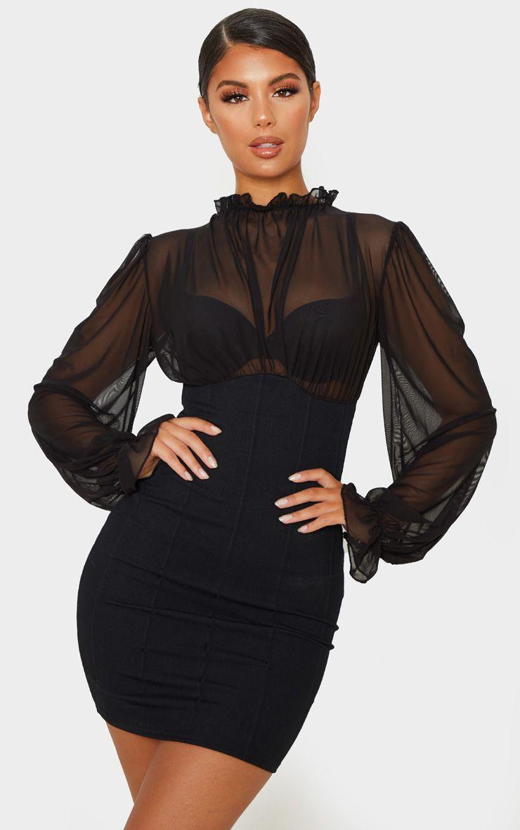 Black Bandage Mesh Bodice High Neck Bodycon Dress