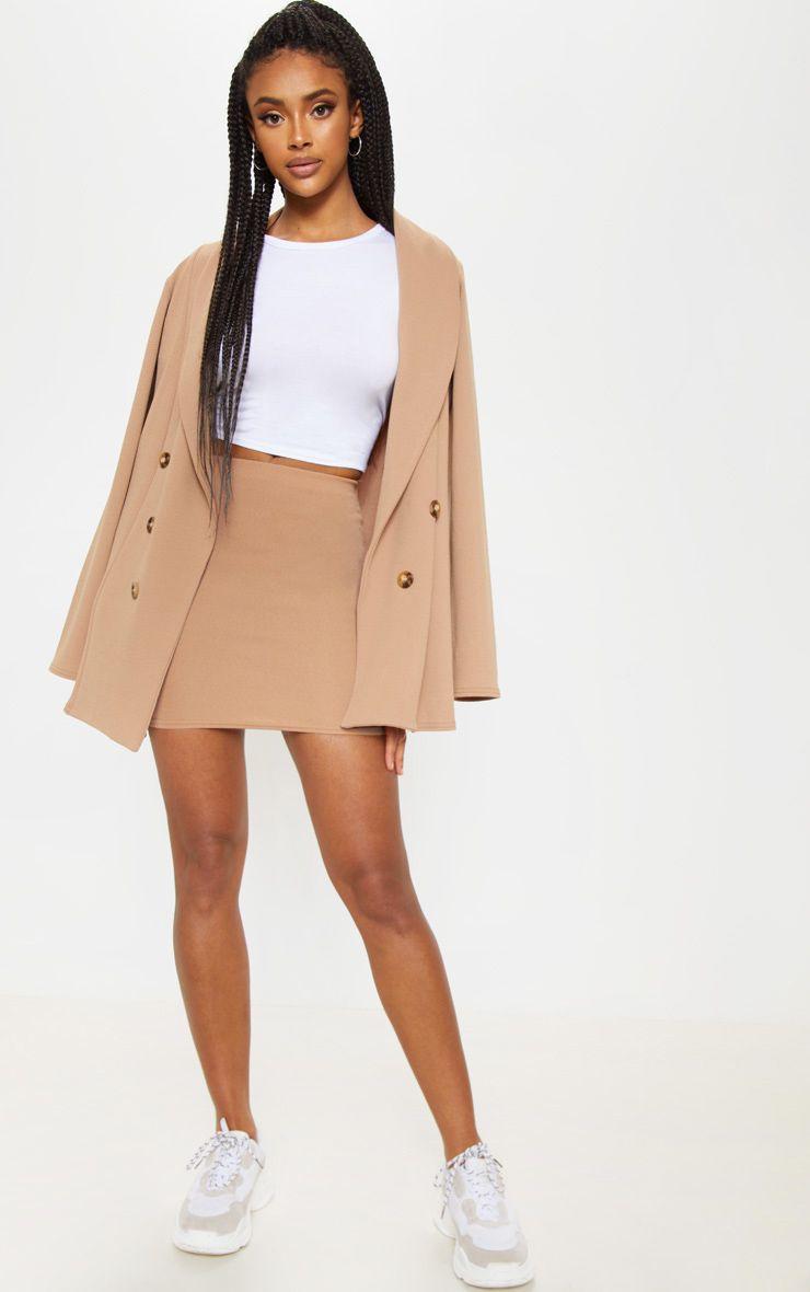 Camel Mini Suit Skirt