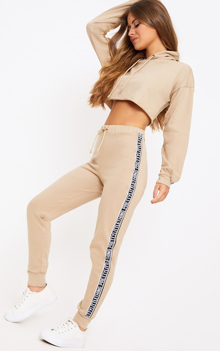PRETTYLITTLETHING Petite Taupe Track Pants