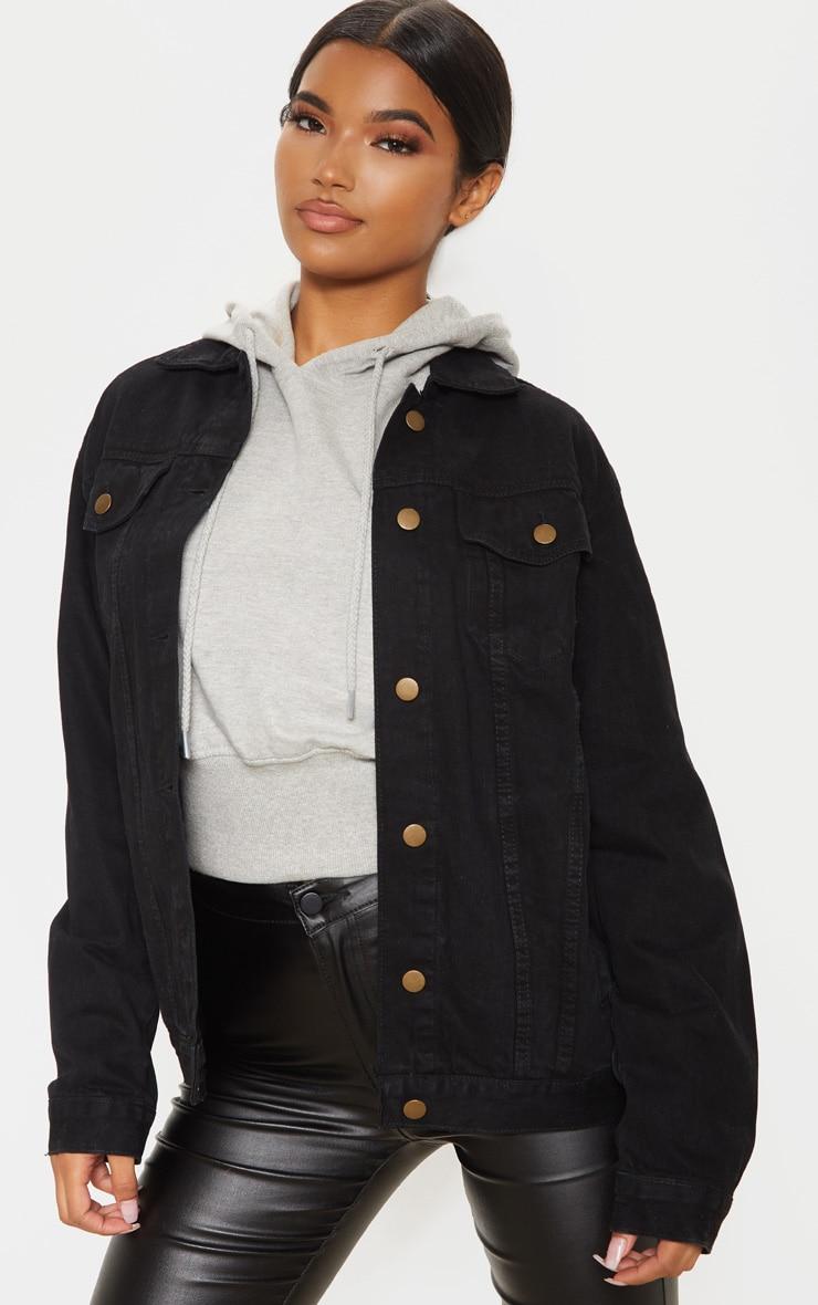 Black Oversized Boyfriend Denim Jacket