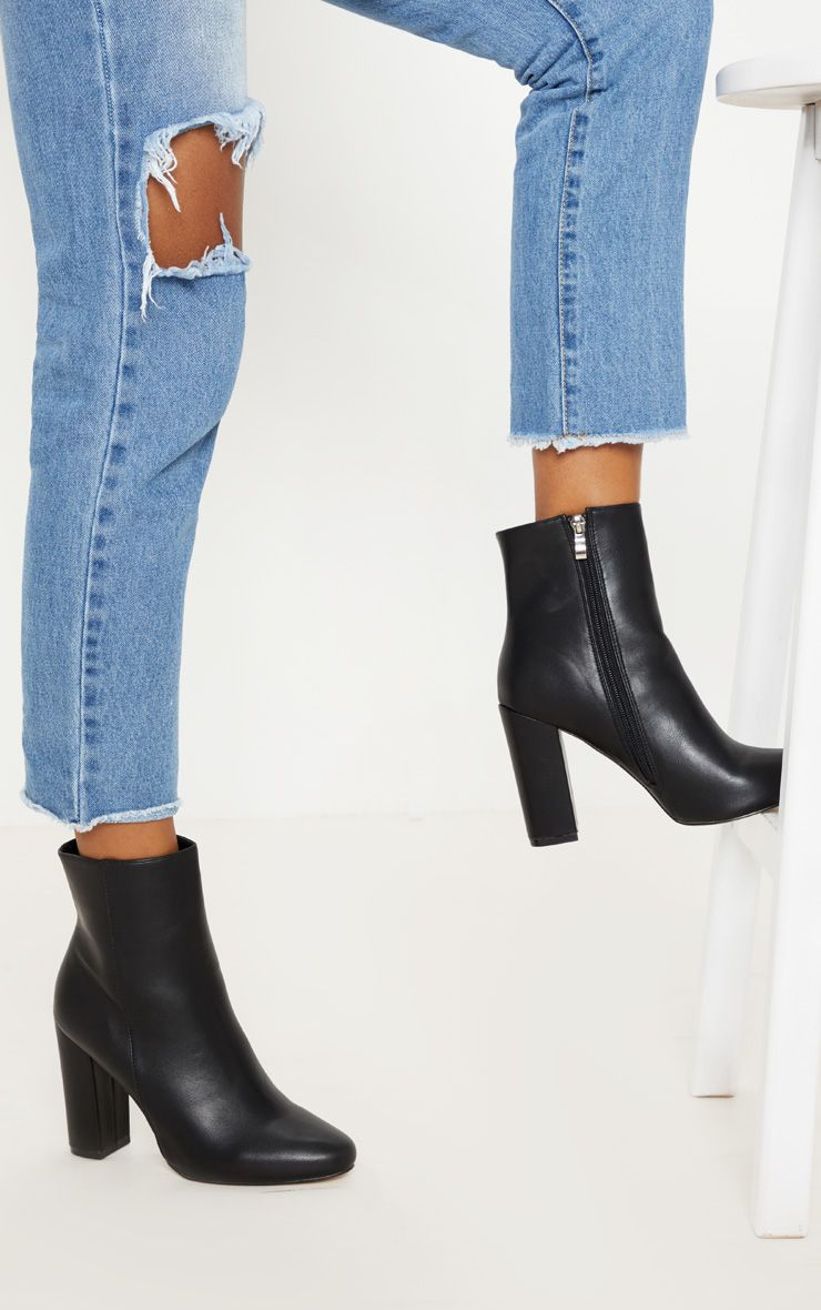 Black Faux Leather Ankle Boot