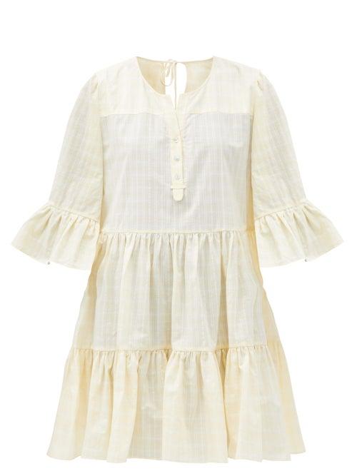 Loup Charmant - Arco Checked Organic-cotton Mini Dress - Womens - Yellow Print