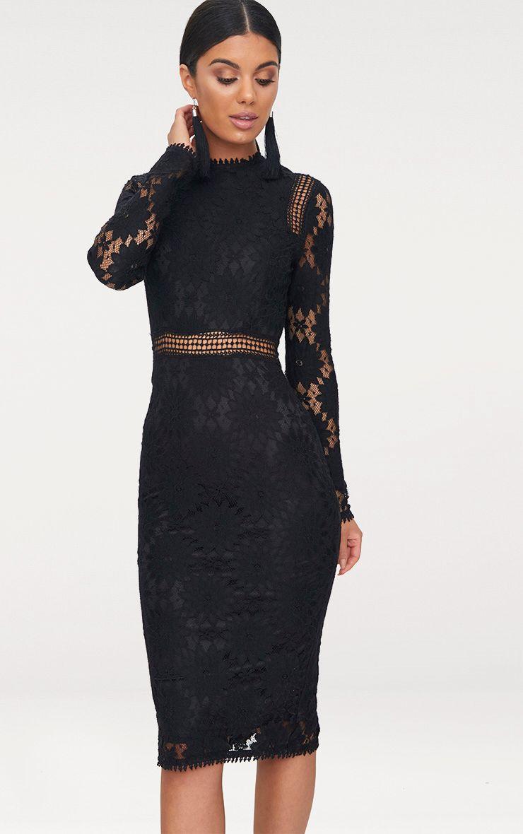 Caris Black Long Sleeve Lace Bodycon Dress