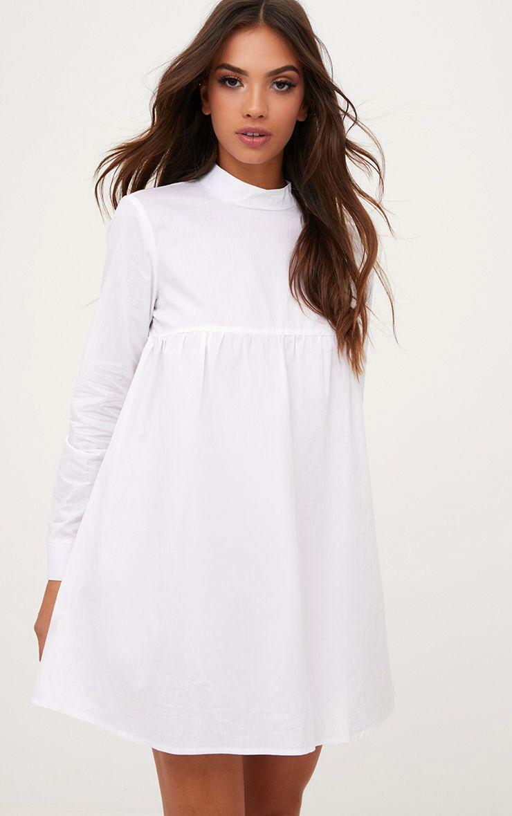 White Cotton Poplin High Neck Smock Dress