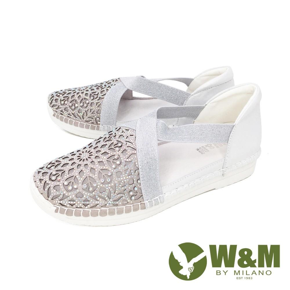 W&M(女) 亮鑽縷紗彈力帶內增高鞋 自尊鞋 樂福鞋 女鞋 - 銀 (另有金 )