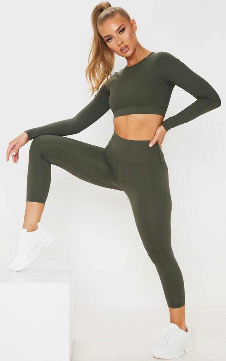 Khaki Sculpt Luxe Cropped Gym Legging