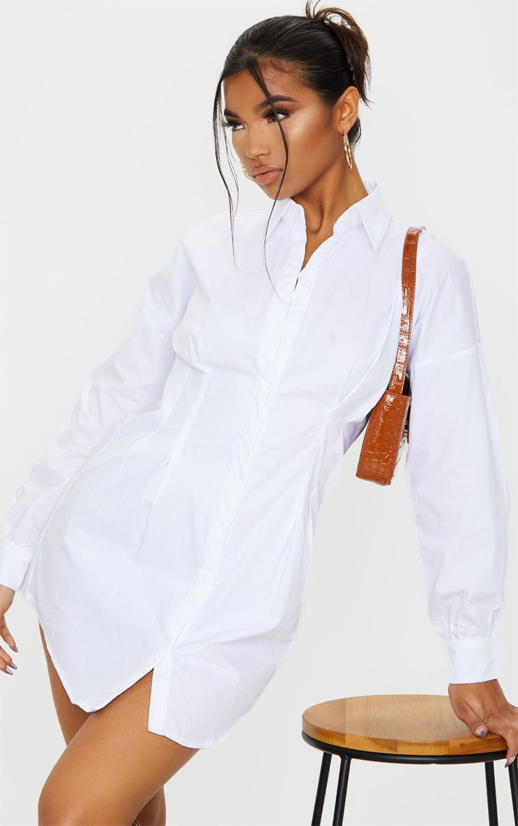 White Fitted Waist Long Sleeve Shirt Dress