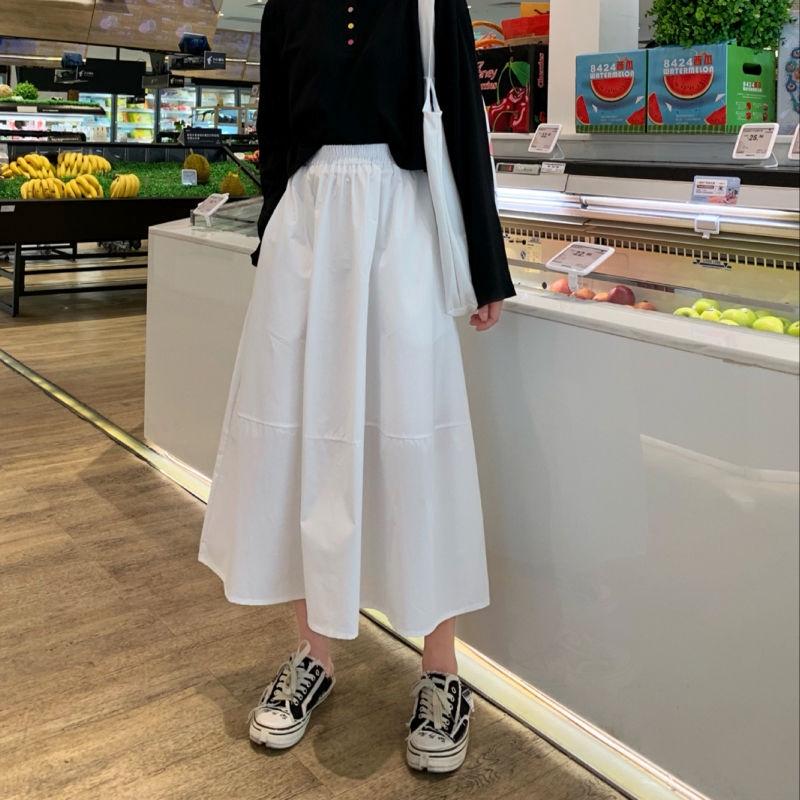 [免運]A字裙 189014時尚百搭素色休閒百搭高腰顯瘦工裝中長款半身裙女