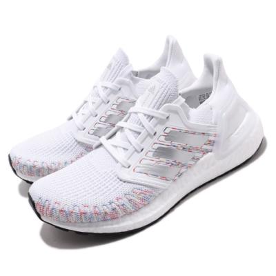 adidas 慢跑鞋 UltraBOOST 20 襪套 女鞋 愛迪達 路跑 緩震 透氣 球鞋穿搭 白 彩 EG0728