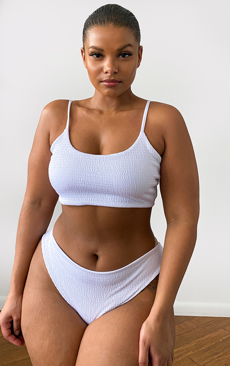 Plus White Crinkle Scoop Neck Bikini Top