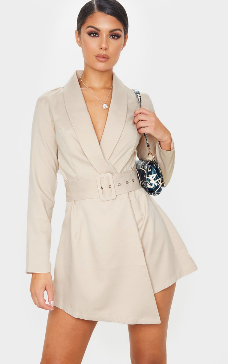 Nude Long Sleeve Tailored Belted Playsuit