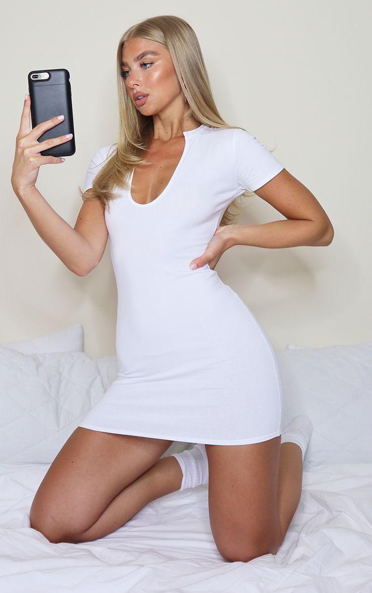 White Deep Slash V Neck Bodycon Dress