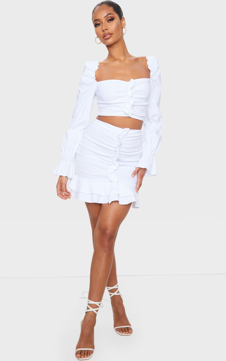 White Woven Stretch Frill Ruched Front Mini Skirt
