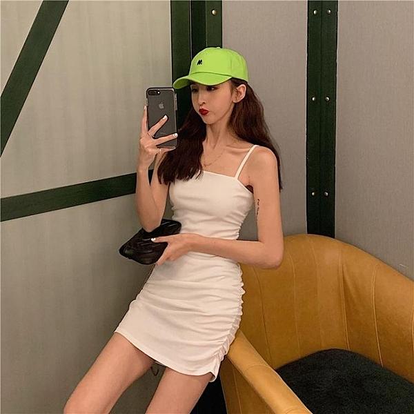 吊帶洋裝 性感顯瘦包臀吊帶裙2020新款夏季氣質收腰蹦迪連身裙女白色裙子 叮噹百貨