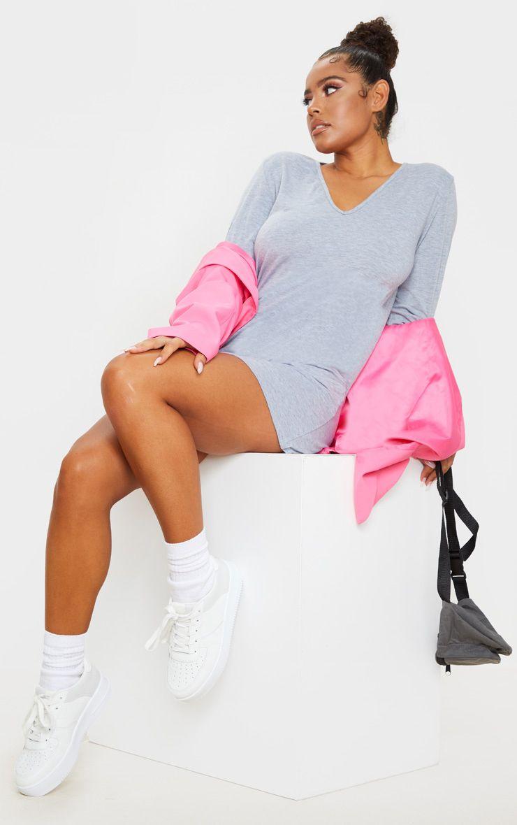 Grey Basic V Neck Long Sleeve T-Shirt Dress