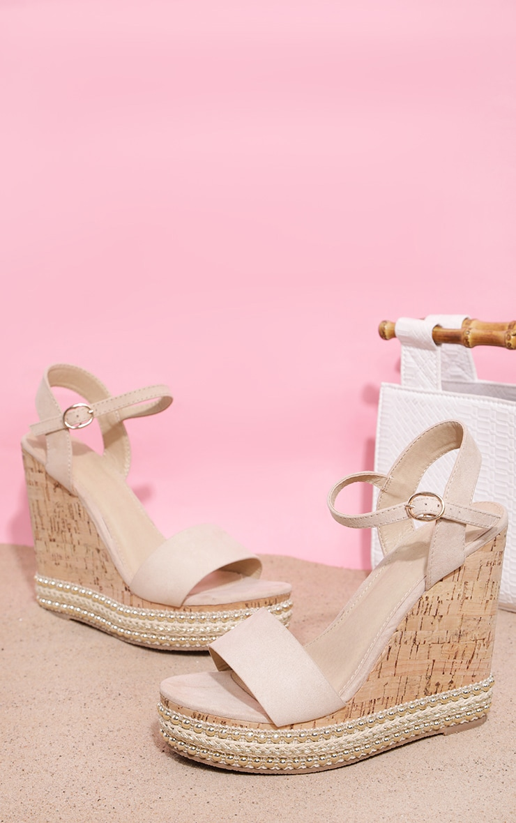 Nude Studded Cork Wedge Sandal