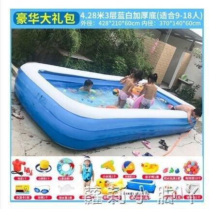 泳池超大號兒童充氣游泳池加厚成人水池家庭嬰幼兒游泳桶家用小孩泳池 紓困振興