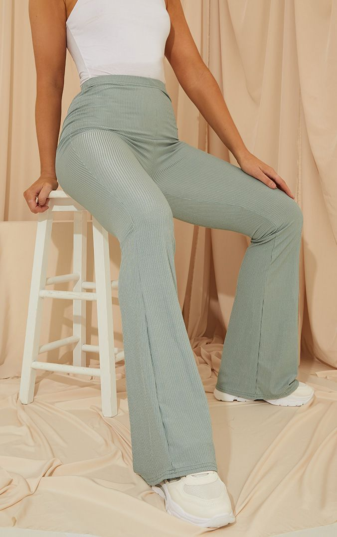 Dark Mint Shiny Rib Flare Pants