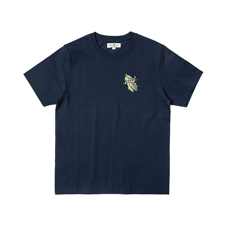 280g 重磅圓桶無縫機織復古印花T恤-粟米印花-海軍藍