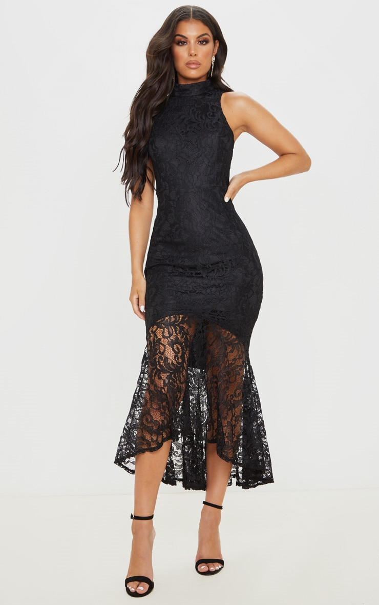 Black Lace High Neck Fishtail Midaxi Dress
