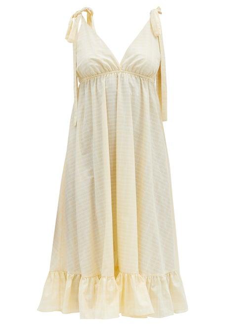 Loup Charmant - Amalfi Checked Organic-cotton Midi Dress - Womens - Yellow Print