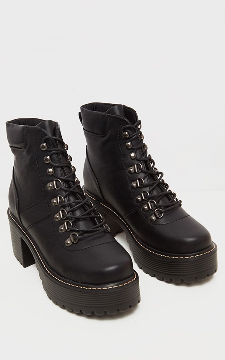 Black Cleated Platform Chunky Hiker Lace Up Ankle Boot