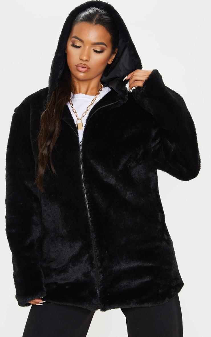 Black Hooded Faux Fur Midi Coat