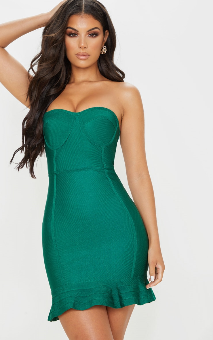 Emerald Green Bandage Frill Hem Bodycon Dress