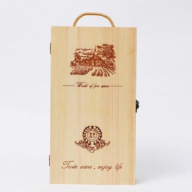 雙支裝紅酒木盒木箱實木紅酒盒葡萄酒包裝盒禮盒通用2只支持定制 秋冬新品特惠