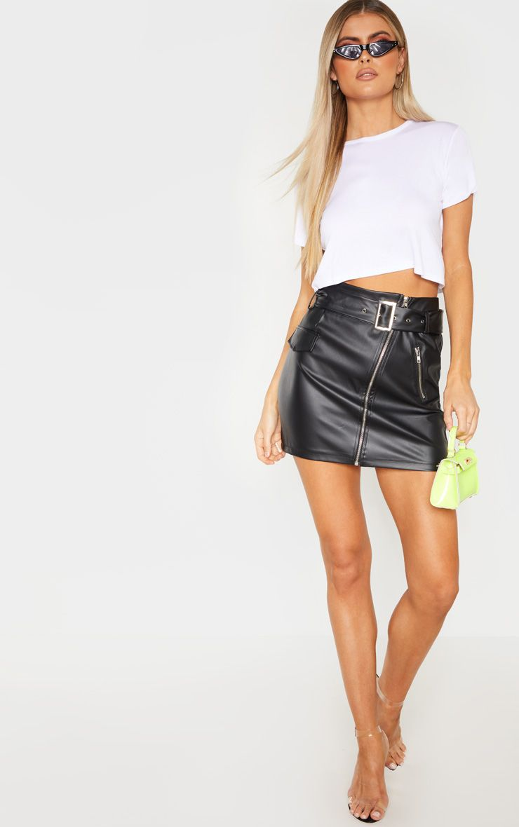 Tall Black Belt Detail PU Mini Skirt