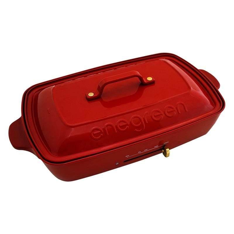 日式多功能烹調大器電烤盤(經典紅)KHP-777TR 買就送英國Jamie Oliver波浪紋設計白瓷碗13公分*1入 KHP-777TR