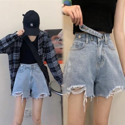 【韓國K.W.】海島假期時尚清涼牛仔短褲