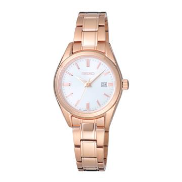 SEIKO 經典時尚品味腕錶-玫瑰金X白