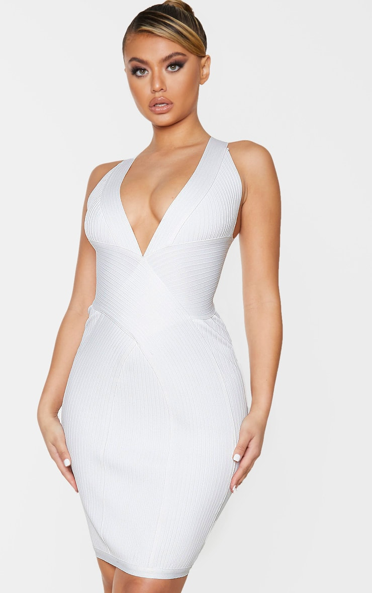 White Plunge Bandage Midi Dress