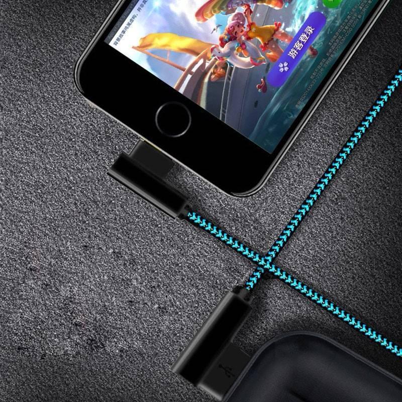 ROCK iPhone充電線 雙頭L型 尼龍 編織 iOS 傳輸線 蘋果 lightning接口 天堂2 天堂2