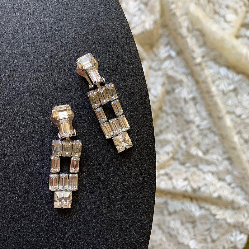 Vintage夾式耳環/ 方鑽裝飾藝術風格