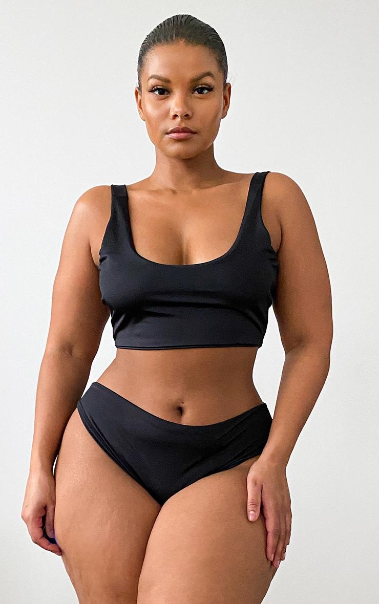 Plus Black Mix & Match Square Neck Cropped Bikini Top