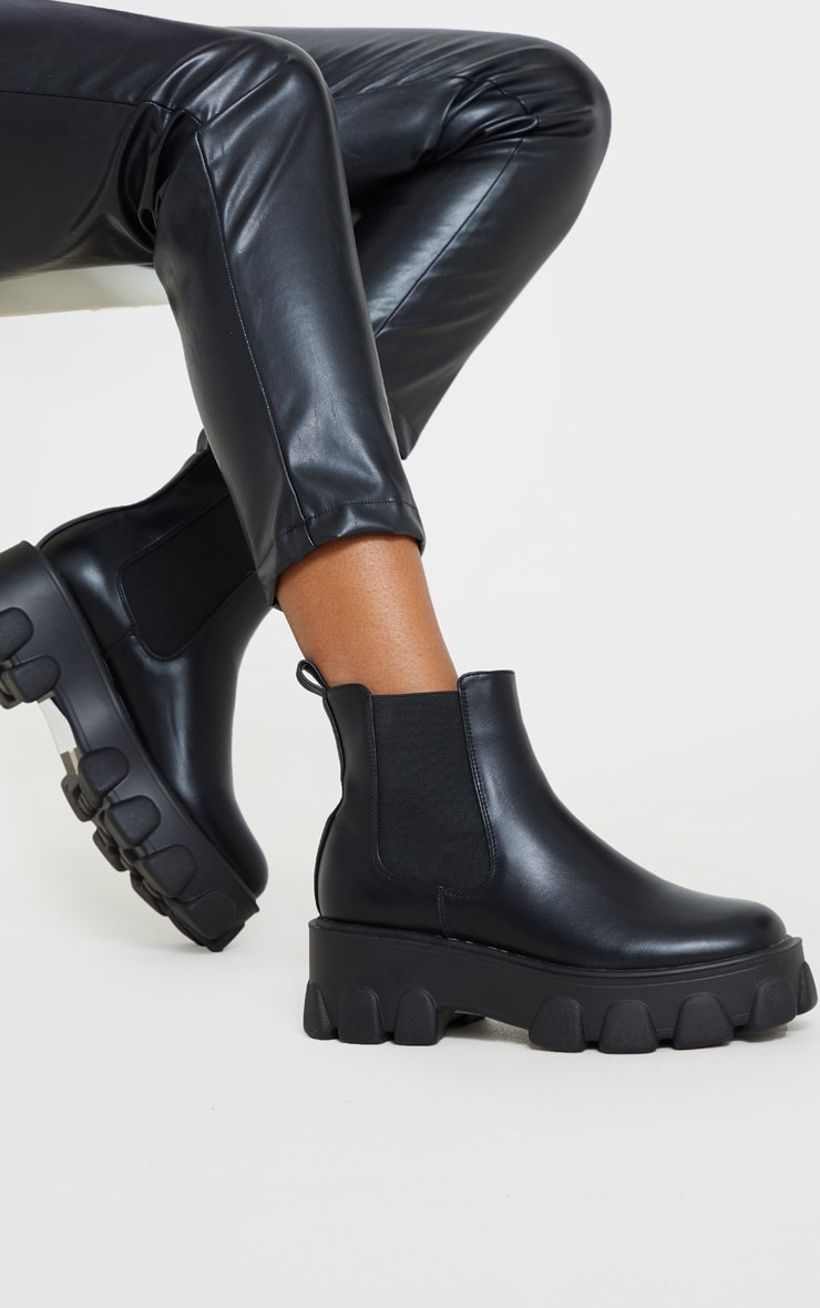 Black Chunky Heavy Cleated Sole Chelsea Ankle Boot