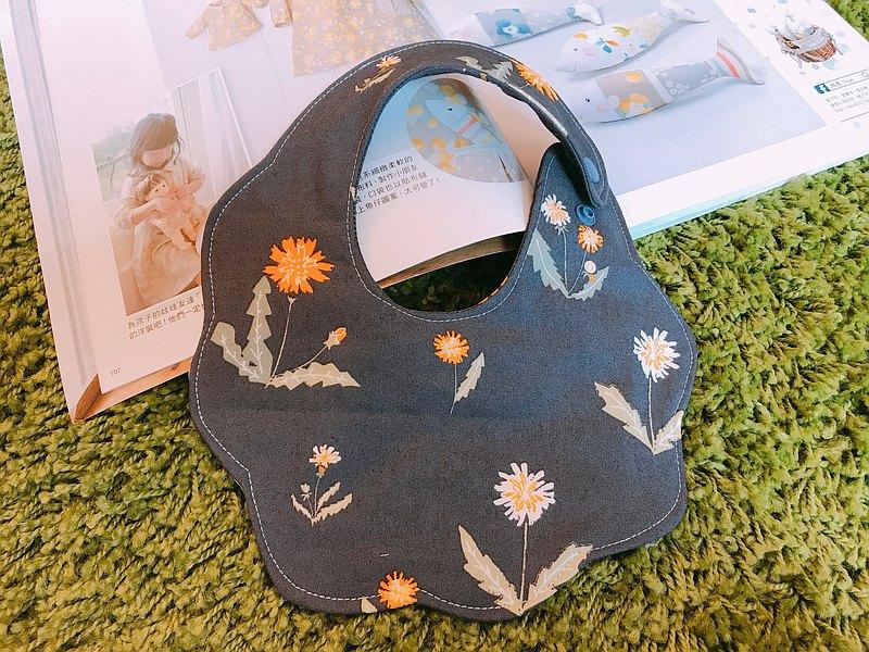 花兜/圍兜/口水巾-灰藍秋菊