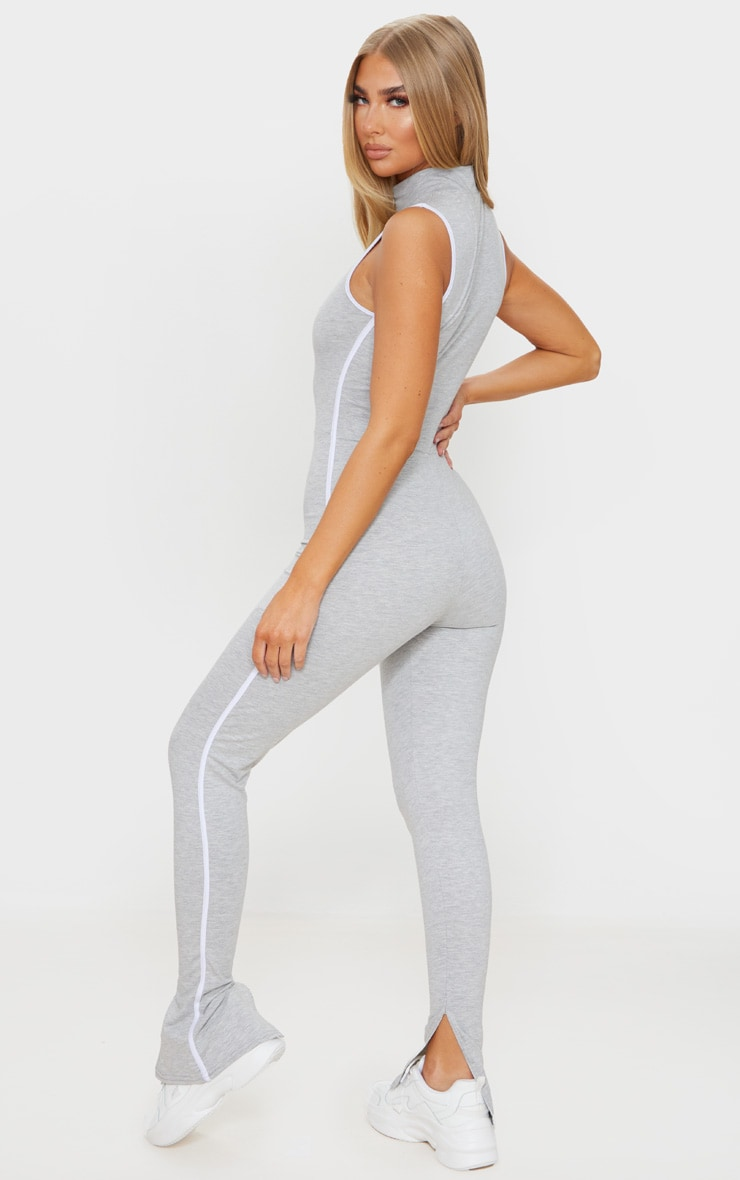 Grey Zip Detail Sports Stripe Sleeveless Jumpsuit