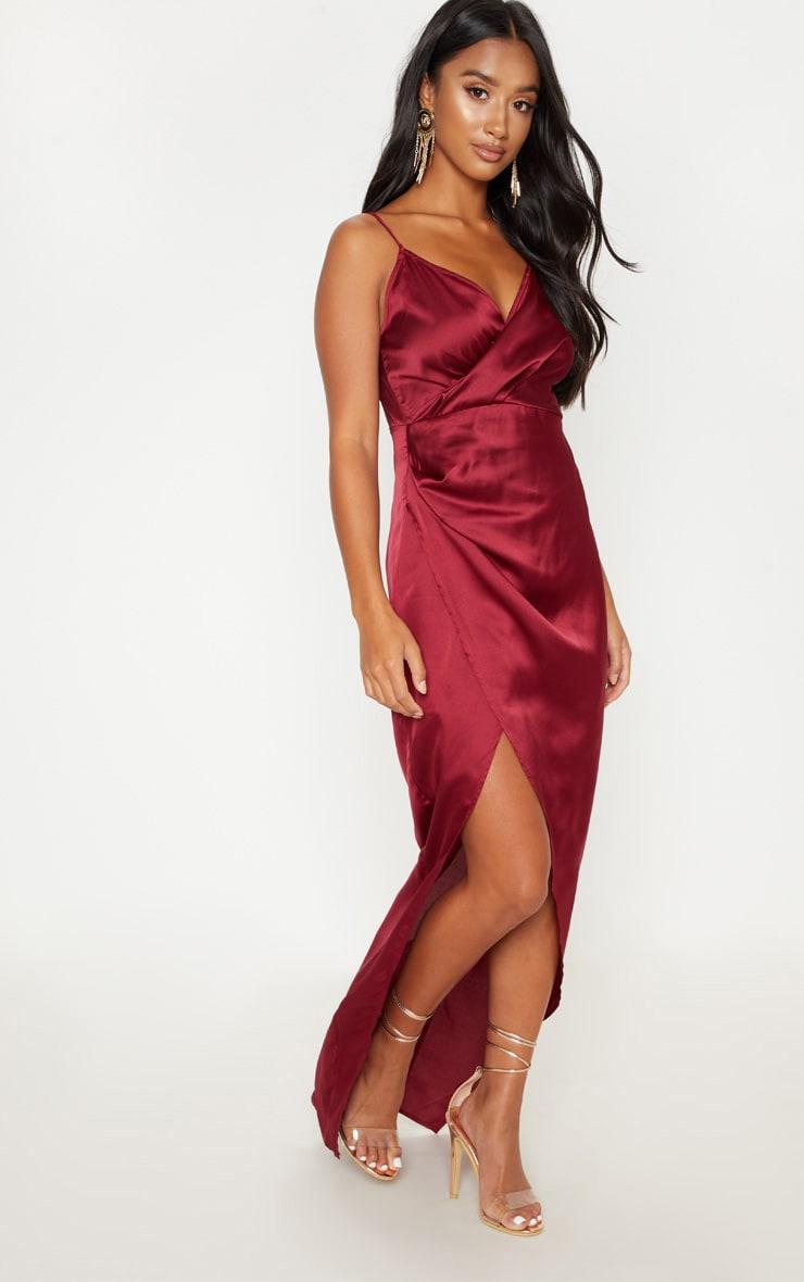 Petite Burgundy Satin Wrap Detail Maxi Dress