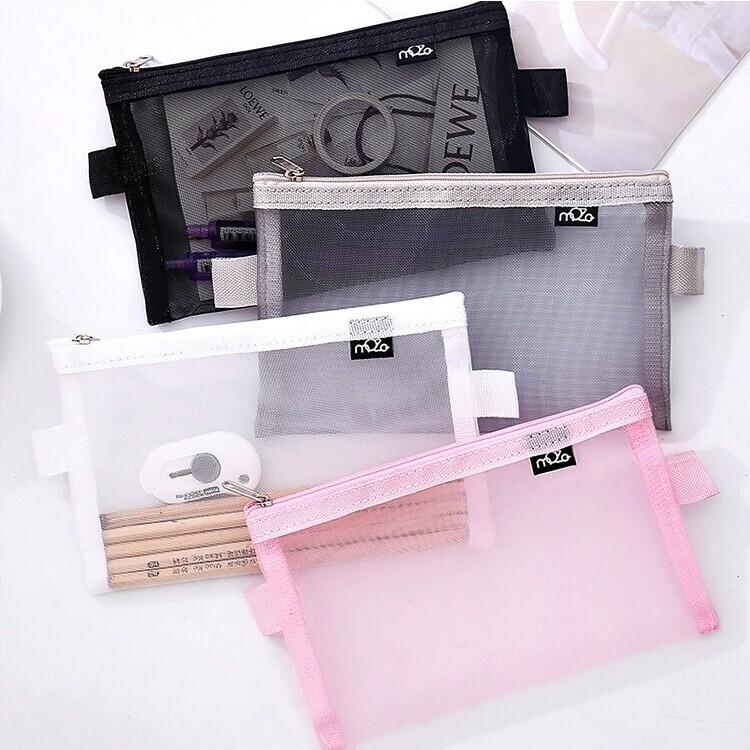 簡約色系透明網格鉛筆盒(一組1大+1小)m0528alex shop