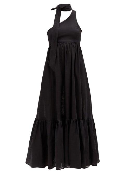 Zimmermann - One-shoulder Sash-neck Linen Midi Dress - Womens - Black