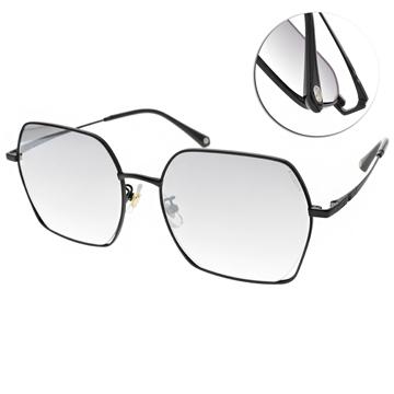 SEROVA太陽眼鏡 個性多邊方框款 (霧黑-淺白水銀漸層灰綠鏡片)#SS9059 C16