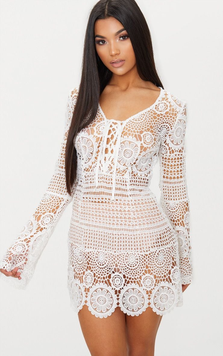 White Tie Front Flare Sleeve Crochet Lace Bodycon Dress